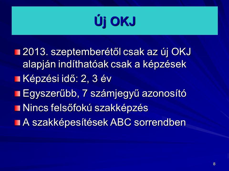 8 Új OKJ 2013. szeptemberétől csak az új OKJ alapján indíthatóak csak a képzések Képzési idő: 2, 3 év Egyszerűbb, 7 számjegyű azonosító Nincs felsőfok