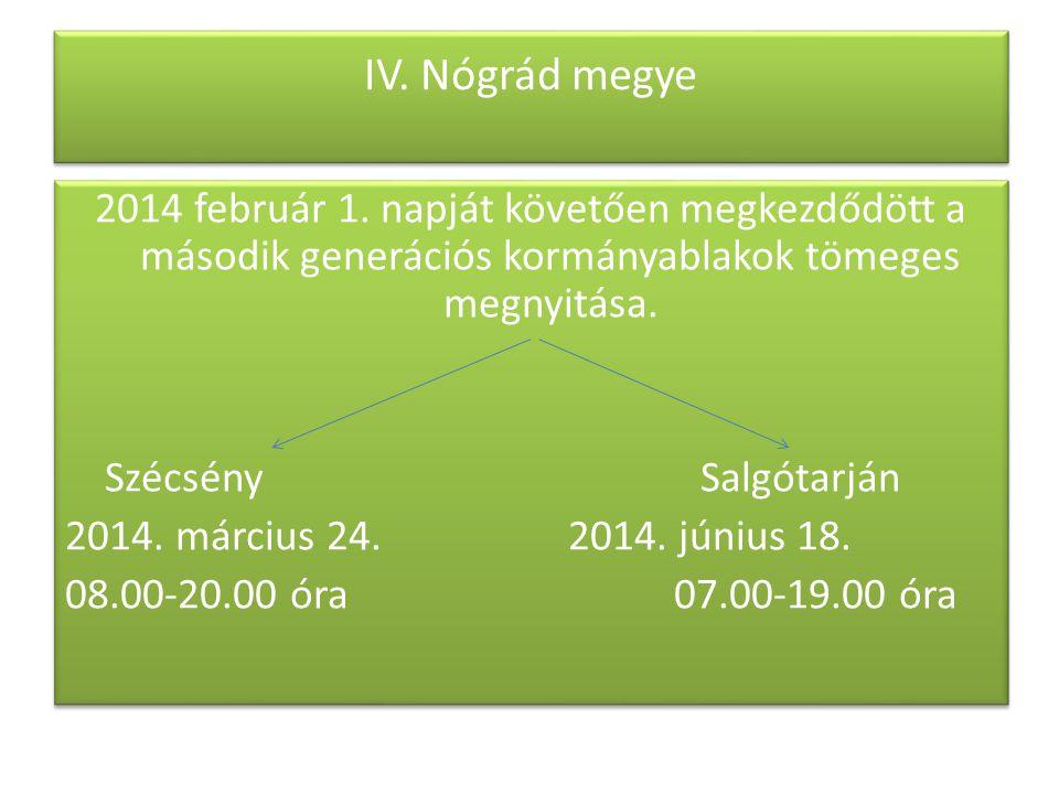 IV. Nógrád megye 2014 február 1. napját követően megkezdődött a második generációs kormányablakok tömeges megnyitása. SzécsénySalgótarján 2014. márciu