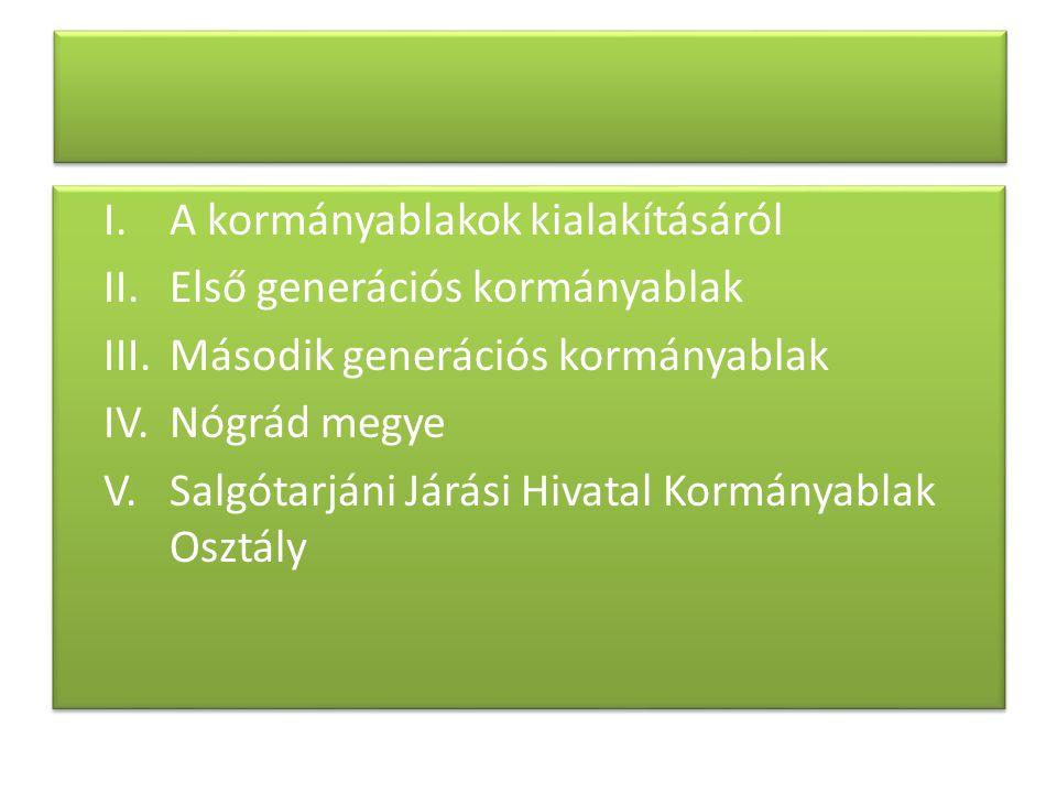 I.A kormányablakok kialakításáról II.Első generációs kormányablak III.Második generációs kormányablak IV.Nógrád megye V. Salgótarjáni Járási Hivatal K