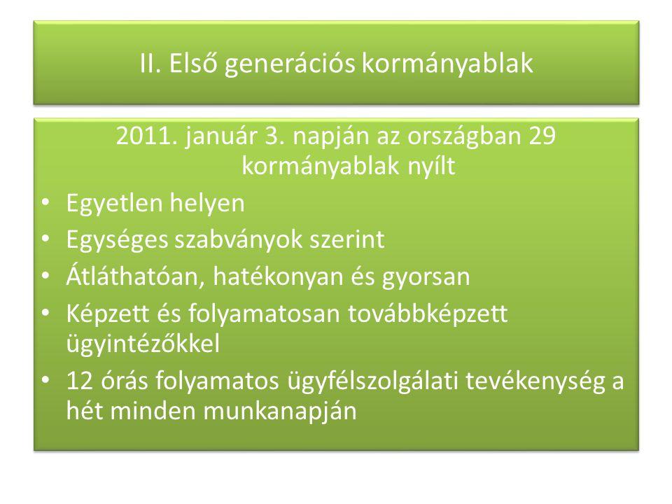 II. Első generációs kormányablak 2011. január 3. napján az országban 29 kormányablak nyílt Egyetlen helyen Egységes szabványok szerint Átláthatóan, ha