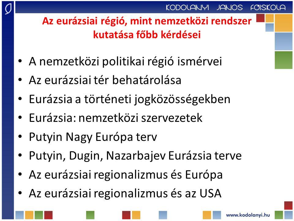Az eurázsiai régió, mint nemzetközi rendszer kutatása főbb kérdései A nemzetközi politikai régió ismérvei Az eurázsiai tér behatárolása Eurázsia a történeti jogközösségekben Eurázsia: nemzetközi szervezetek Putyin Nagy Európa terv Putyin, Dugin, Nazarbajev Eurázsia terve Az eurázsiai regionalizmus és Európa Az eurázsiai regionalizmus és az USA