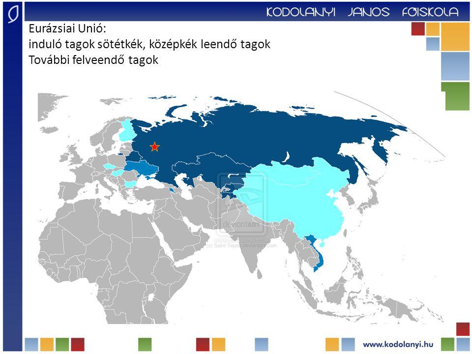 Eurázsiai Unió: induló tagok sötétkék, középkék leendő tagok További felveendő tagok