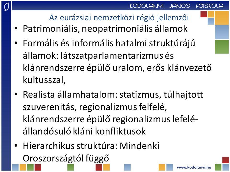 Patrimoniális, neopatrimoniális államok Formális és informális hatalmi struktúrájú államok: látszatparlamentarizmus és klánrendszerre épülő uralom, erős klánvezető kultusszal, Realista államhatalom: statizmus, túlhajtott szuverenitás, regionalizmus felfelé, klánrendszerre épülő regionalizmus lefelé- állandósuló kláni konfliktusok Hierarchikus struktúra: Mindenki Oroszországtól függő Az eurázsiai nemzetközi régió jellemzői