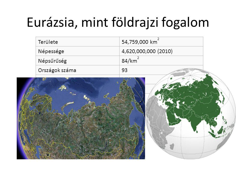 Eurázsia, mint földrajzi fogalom Területe54,759,000 km 2 Népessége4,620,000,000 (2010) Népsűrűség84/km 2 Országok száma93