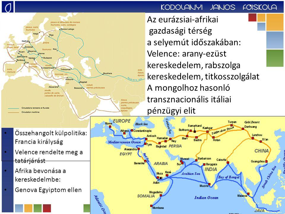 Az eurázsiai-afrikai gazdasági térség a selyemút időszakában: Velence: arany-ezüst kereskedelem, rabszolga kereskedelem, titkosszolgálat A mongolhoz hasonló transznacionális itáliai pénzügyi elit Összehangolt külpolitika: Francia királyság Velence rendelte meg a tatárjárást Afrika bevonása a kereskedelmbe: Genova Egyiptom ellen