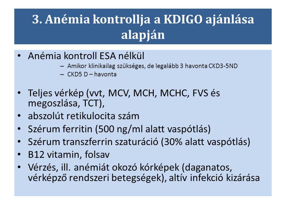 3. Anémia kontrollja a KDIGO ajánlása alapján Anémia kontroll ESA nélkül – Amikor klinikailag szükséges, de legalább 3 havonta CKD3-5ND – CKD5 D – hav