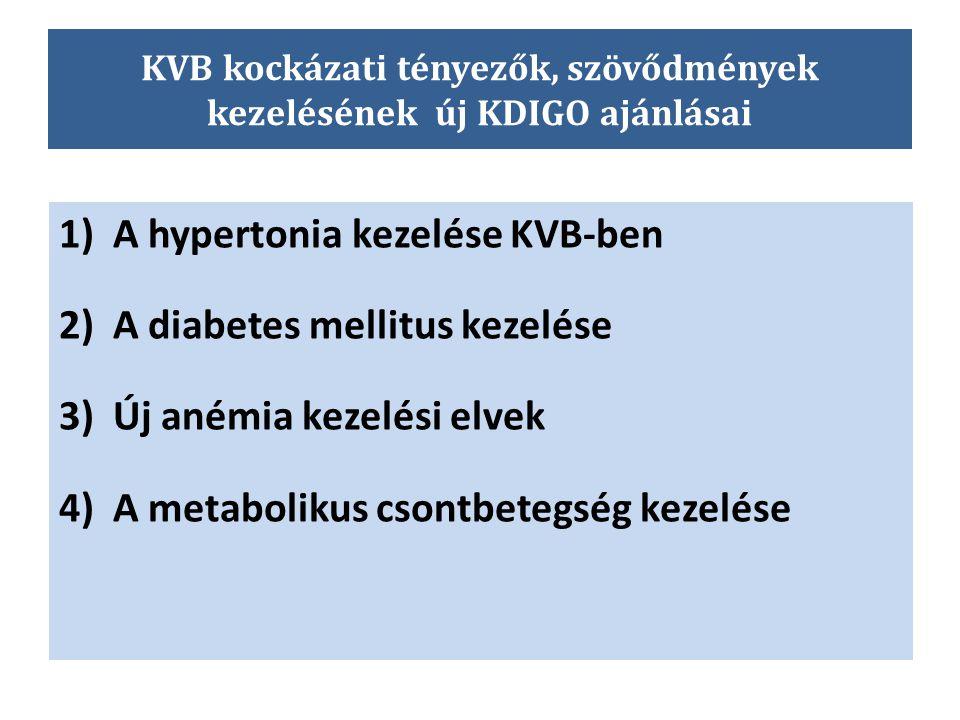 KVB kockázati tényezők, szövődmények kezelésének új KDIGO ajánlásai 1)A hypertonia kezelése KVB-ben 2)A diabetes mellitus kezelése 3)Új anémia kezelés