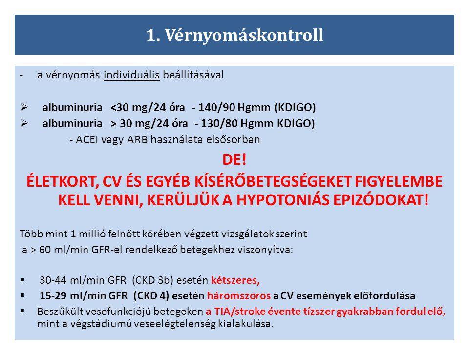 1. Vérnyomáskontroll -a vérnyomás individuális beállításával  albuminuria <30 mg/24 óra - 140/90 Hgmm (KDIGO)  albuminuria > 30 mg/24 óra - 130/80 H
