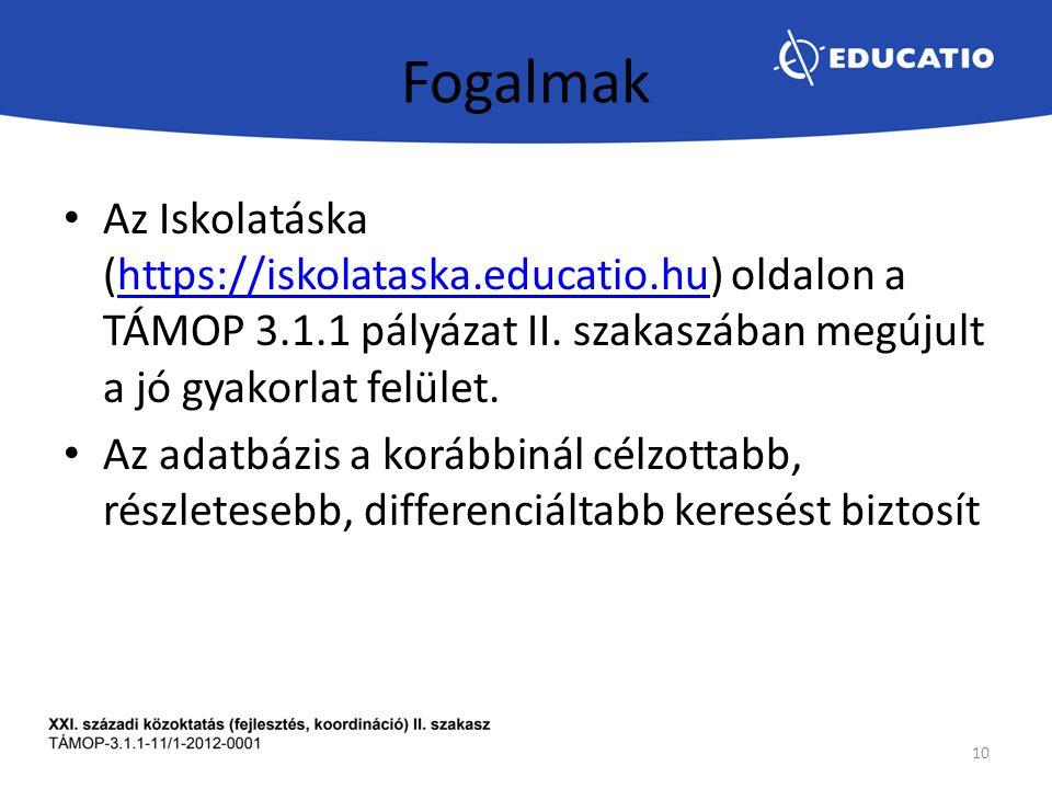 Fogalmak Az Iskolatáska (https://iskolataska.educatio.hu) oldalon a TÁMOP 3.1.1 pályázat II.