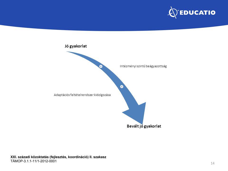 Jó gyakorlat Intézményi szintű beágyazottság Adaptációs feltételrendszer kidolgozása Bevált jó gyakorlat 14