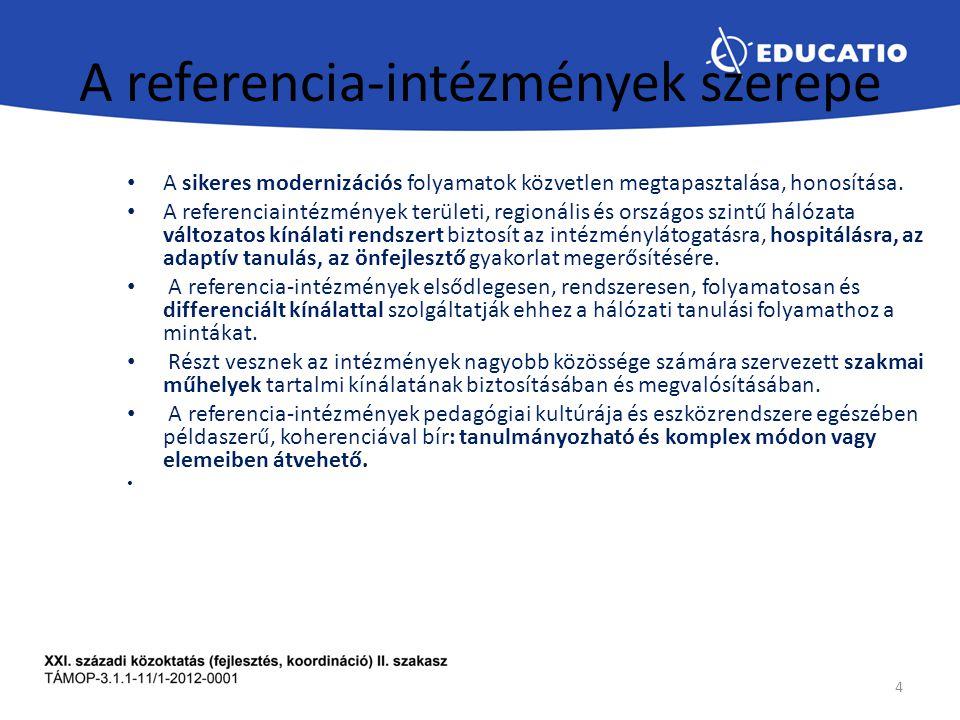 A referencia-intézmények szerepe A sikeres modernizációs folyamatok közvetlen megtapasztalása, honosítása.
