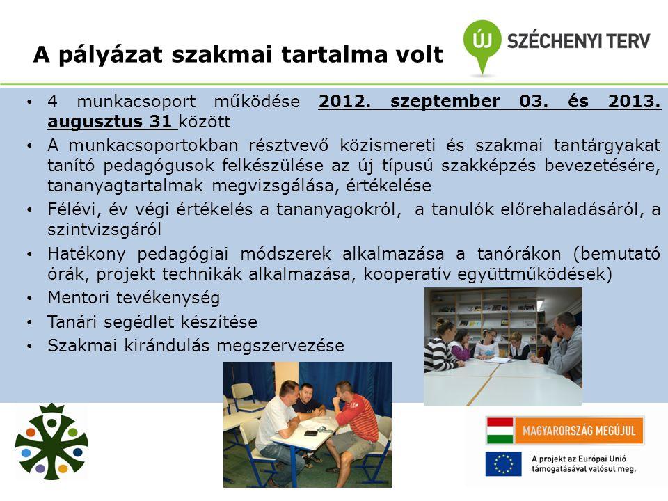 A pályázat szakmai tartalma volt 4 munkacsoport működése 2012.