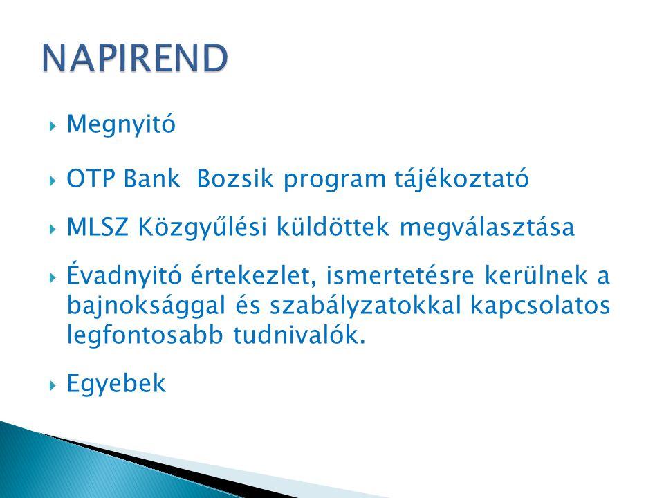  Megnyitó  OTP Bank Bozsik program tájékoztató  MLSZ Közgyűlési küldöttek megválasztása  Évadnyitó értekezlet, ismertetésre kerülnek a bajnokságga
