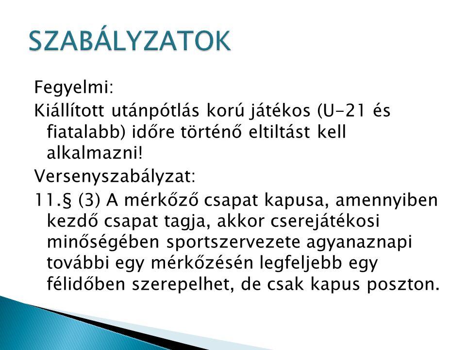 Fegyelmi: Kiállított utánpótlás korú játékos (U-21 és fiatalabb) időre történő eltiltást kell alkalmazni! Versenyszabályzat: 11.§ (3) A mérkőző csapat