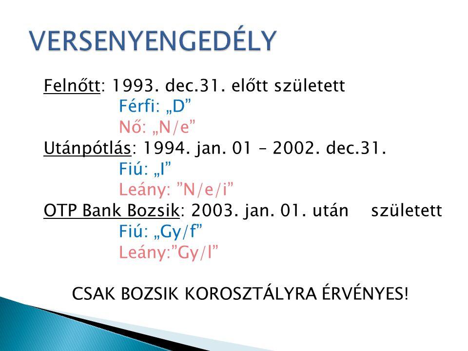 """Felnőtt: 1993. dec.31. előtt született Férfi: """"D"""" Nő: """"N/e"""" Utánpótlás: 1994. jan. 01 – 2002. dec.31. Fiú: """"I"""" Leány: """"N/e/i"""" OTP Bank Bozsik: 2003. j"""