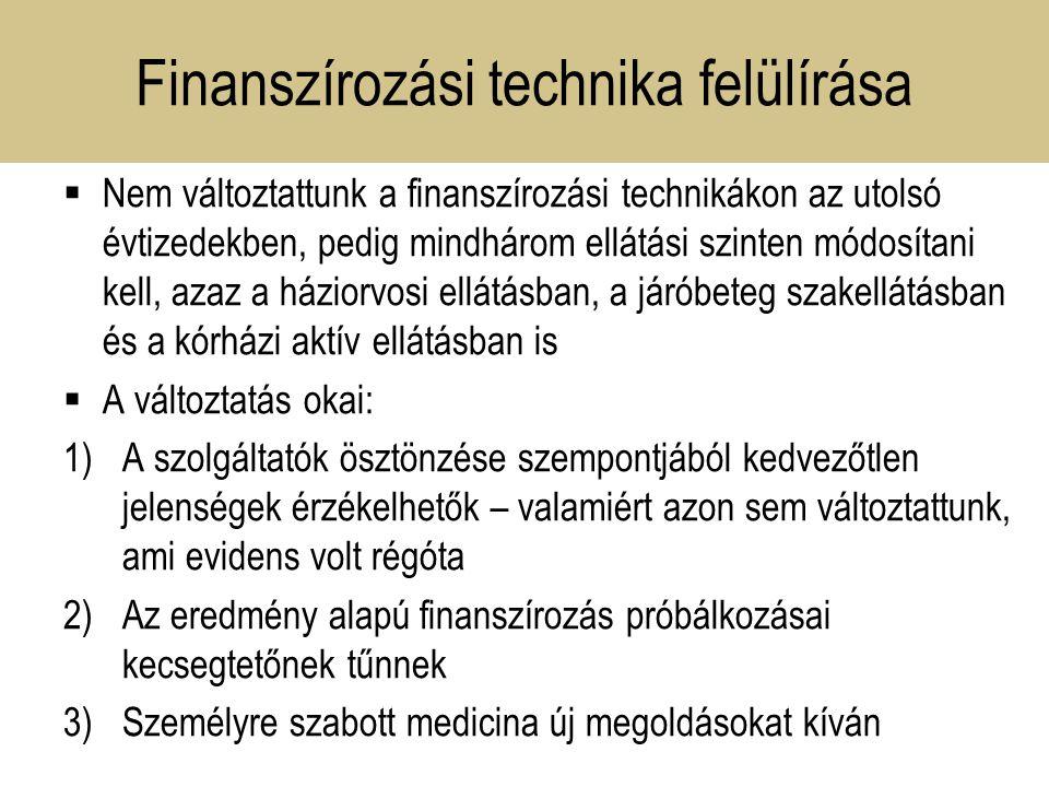 Finanszírozási technika felülírása  Nem változtattunk a finanszírozási technikákon az utolsó évtizedekben, pedig mindhárom ellátási szinten módosítani kell, azaz a háziorvosi ellátásban, a járóbeteg szakellátásban és a kórházi aktív ellátásban is  A változtatás okai: 1)A szolgáltatók ösztönzése szempontjából kedvezőtlen jelenségek érzékelhetők – valamiért azon sem változtattunk, ami evidens volt régóta 2)Az eredmény alapú finanszírozás próbálkozásai kecsegtetőnek tűnnek 3)Személyre szabott medicina új megoldásokat kíván