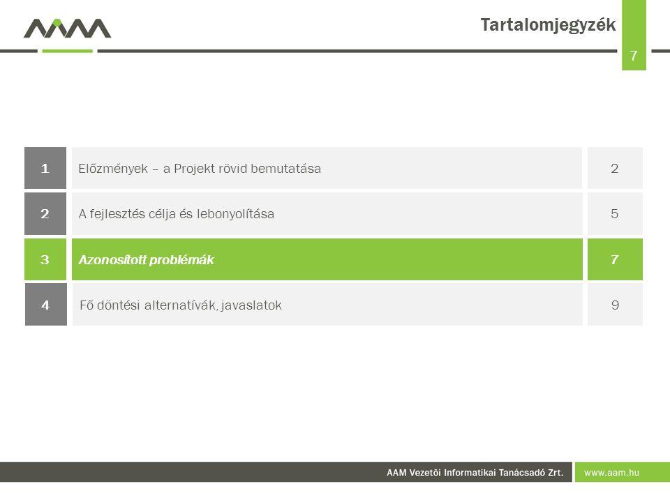 7 Tartalomjegyzék Előzmények – a Projekt rövid bemutatása21 Azonosított problémák73 A fejlesztés célja és lebonyolítása52 Fő döntési alternatívák, javaslatok94