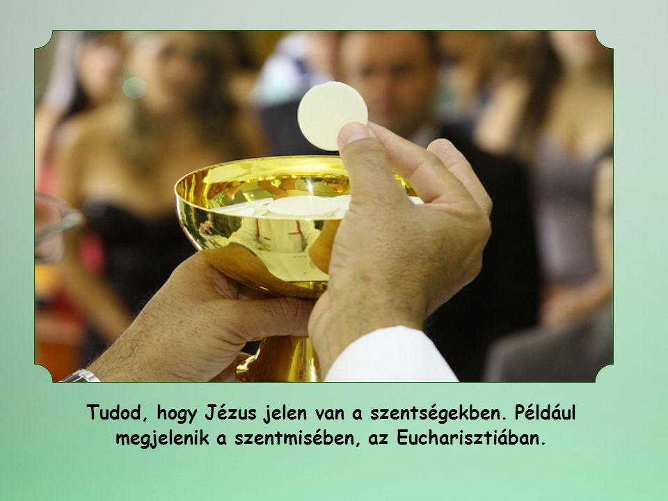 Tudod, hogy Jézus jelen van a szentségekben. Például megjelenik a szentmisében, az Eucharisztiában.