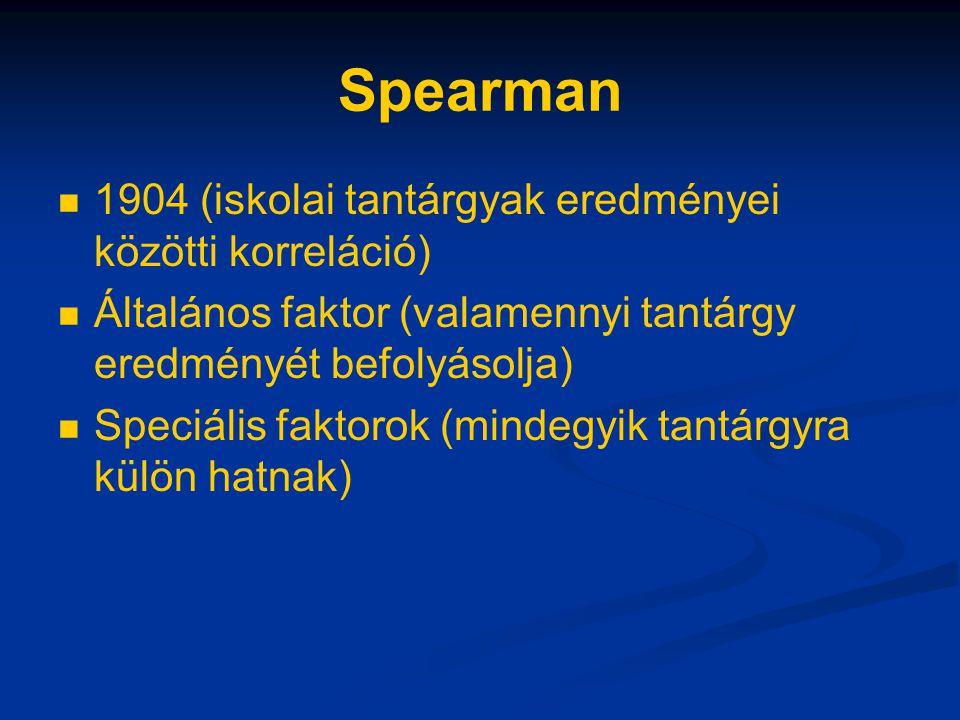 Spearman 1904 (iskolai tantárgyak eredményei közötti korreláció) Általános faktor (valamennyi tantárgy eredményét befolyásolja) Speciális faktorok (mi