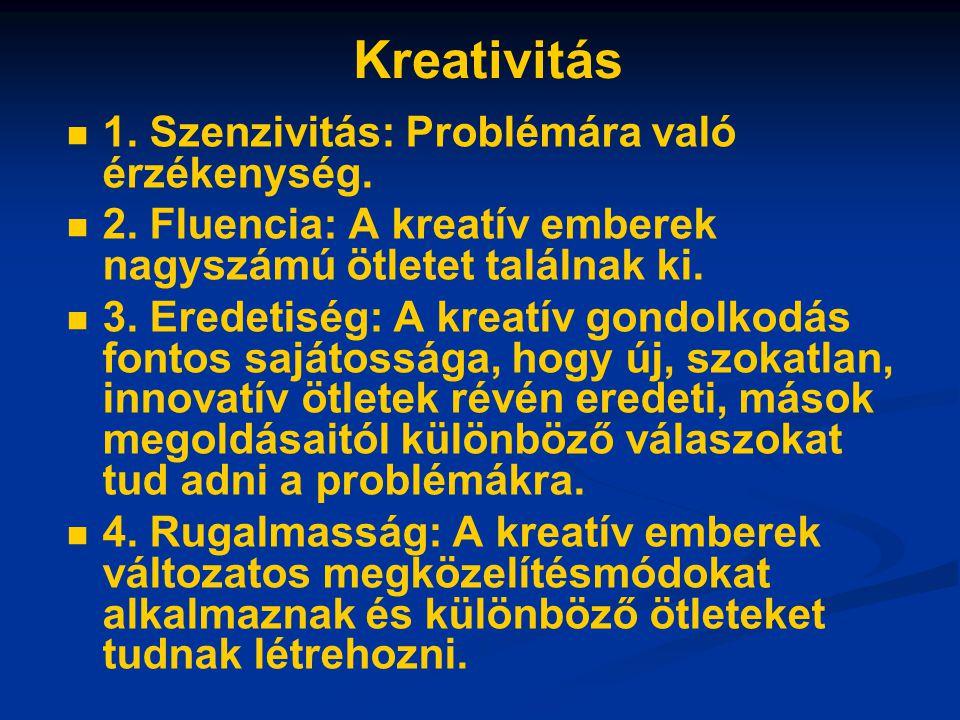 Kreativitás 1. Szenzivitás: Problémára való érzékenység. 2. Fluencia: A kreatív emberek nagyszámú ötletet találnak ki. 3. Eredetiség: A kreatív gondol