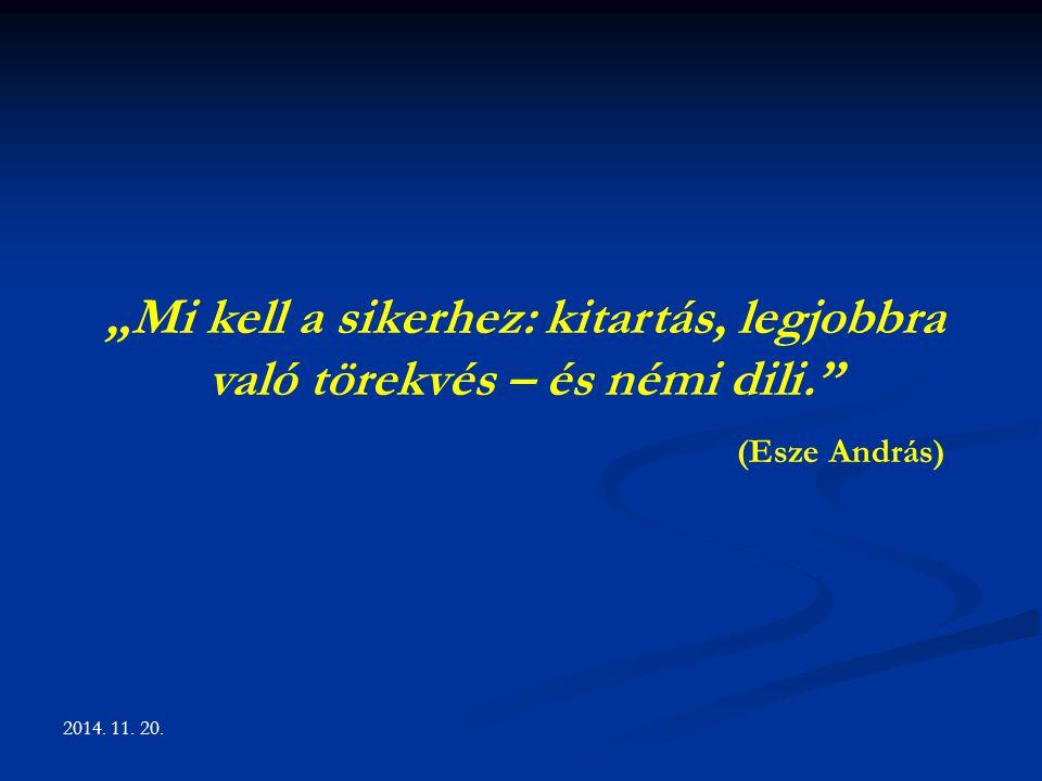 """""""Mi kell a sikerhez: kitartás, legjobbra való törekvés – és némi dili."""" (Esze András)"""