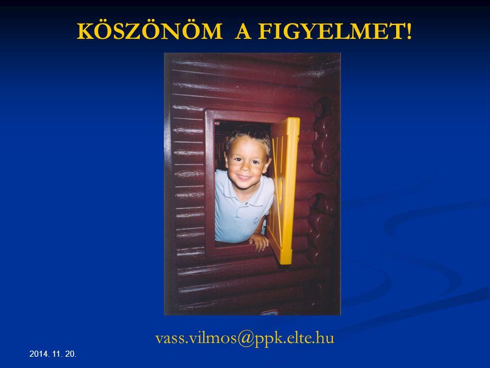 2014. 11. 20. KÖSZÖNÖM A FIGYELMET! vass.vilmos@ppk.elte.hu
