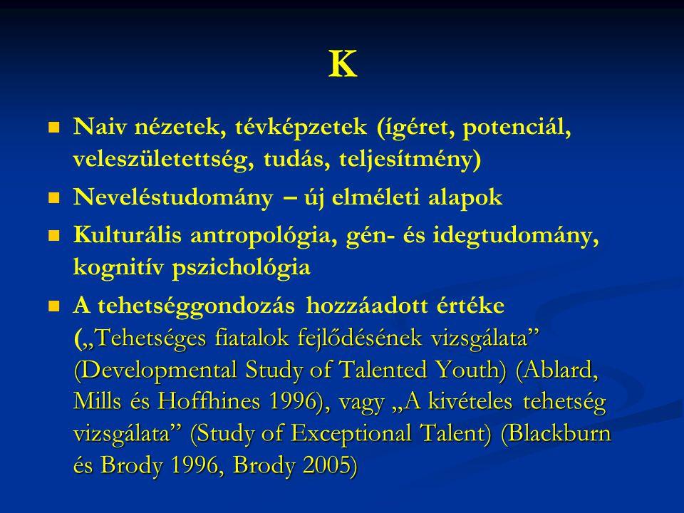 K Naiv nézetek, tévképzetek (ígéret, potenciál, veleszületettség, tudás, teljesítmény) Neveléstudomány – új elméleti alapok Kulturális antropológia, g