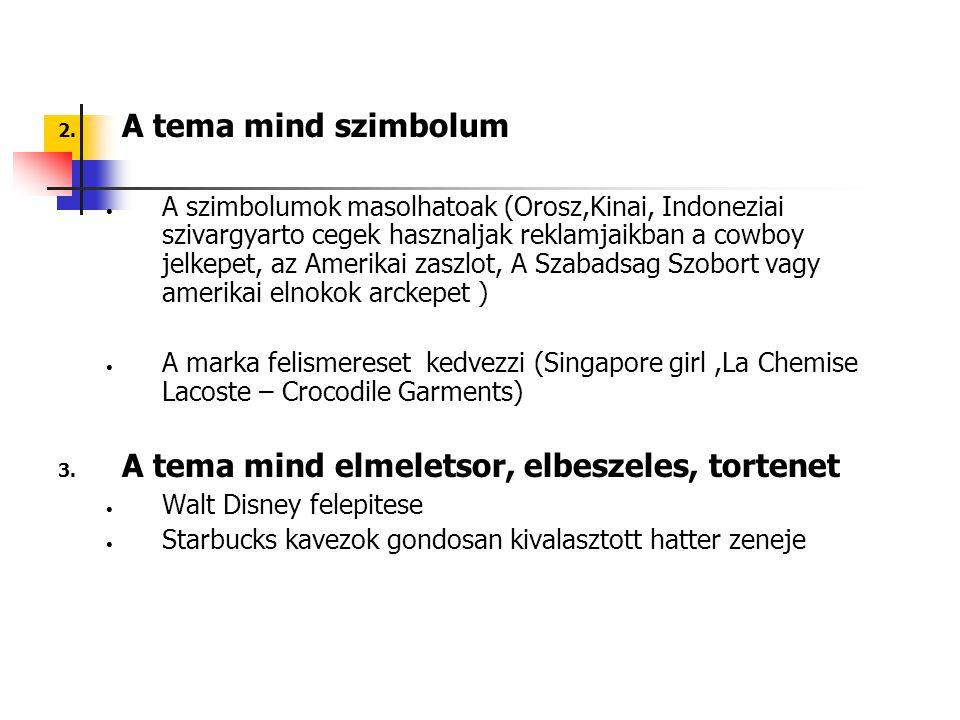 2. A tema mind szimbolum A szimbolumok masolhatoak (Orosz,Kinai, Indoneziai szivargyarto cegek hasznaljak reklamjaikban a cowboy jelkepet, az Amerikai