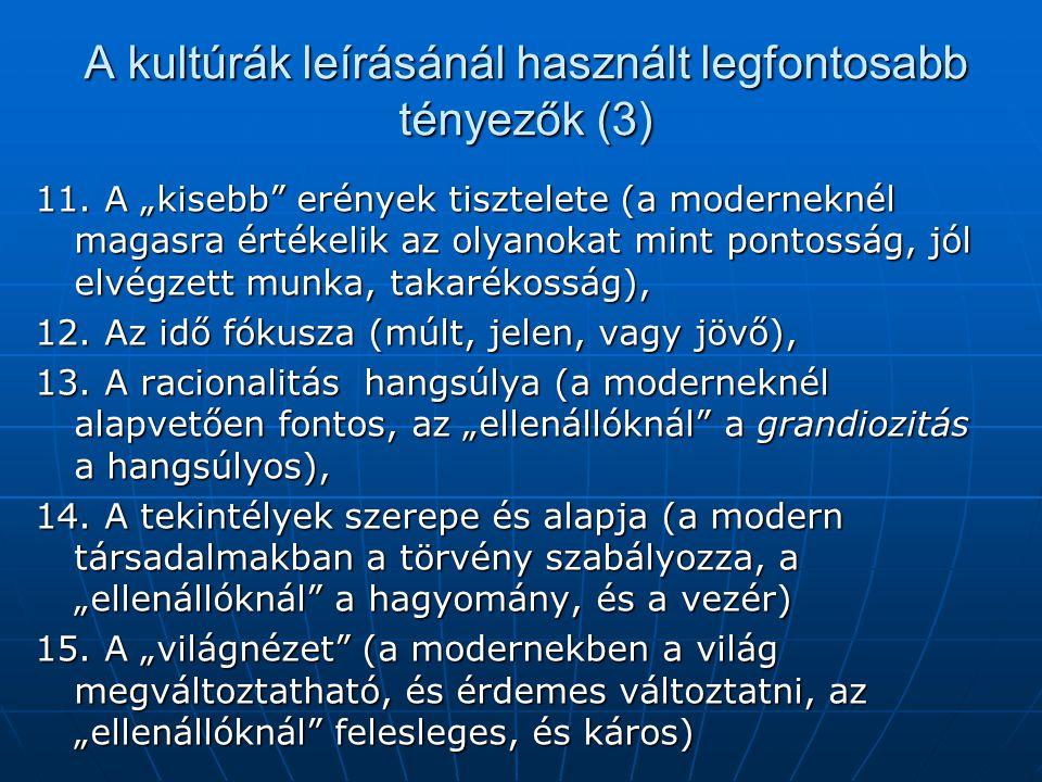 """A kultúrák leírásánál használt legfontosabb tényezők (3) 11. A """"kisebb"""" erények tisztelete (a moderneknél magasra értékelik az olyanokat mint pontossá"""