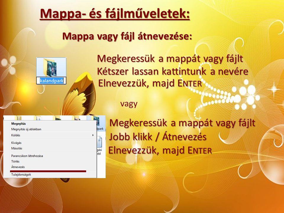 Mappa- és fájlműveletek: Mappa vagy fájl átnevezése: Megkeressük a mappát vagy fájlt Kétszer lassan kattintunk a nevére vagy Elnevezzük, majd E NTER M