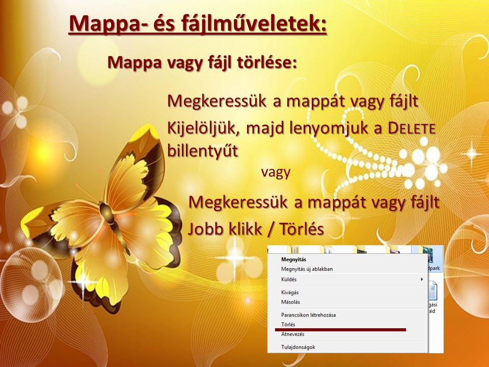 Mappa- és fájlműveletek: Mappa vagy fájl törlése: Megkeressük a mappát vagy fájlt Kijelöljük, majd lenyomjuk a D ELETE billentyűt vagy Megkeressük a m