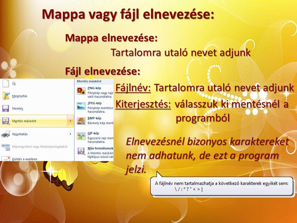 Mappa vagy fájl elnevezése: Mappa elnevezése: Tartalomra utaló nevet adjunk Elnevezésnél bizonyos karaktereket nem adhatunk, de ezt a program jelzi. F