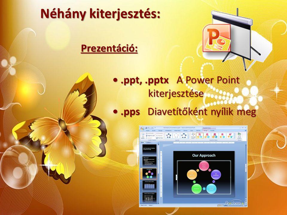 Néhány kiterjesztés: Prezentáció:.ppt,.pptx A Power Point.ppt,.pptx A Power Point kiterjesztése kiterjesztése.pps Diavetítőként nyílik meg.pps Diavetí