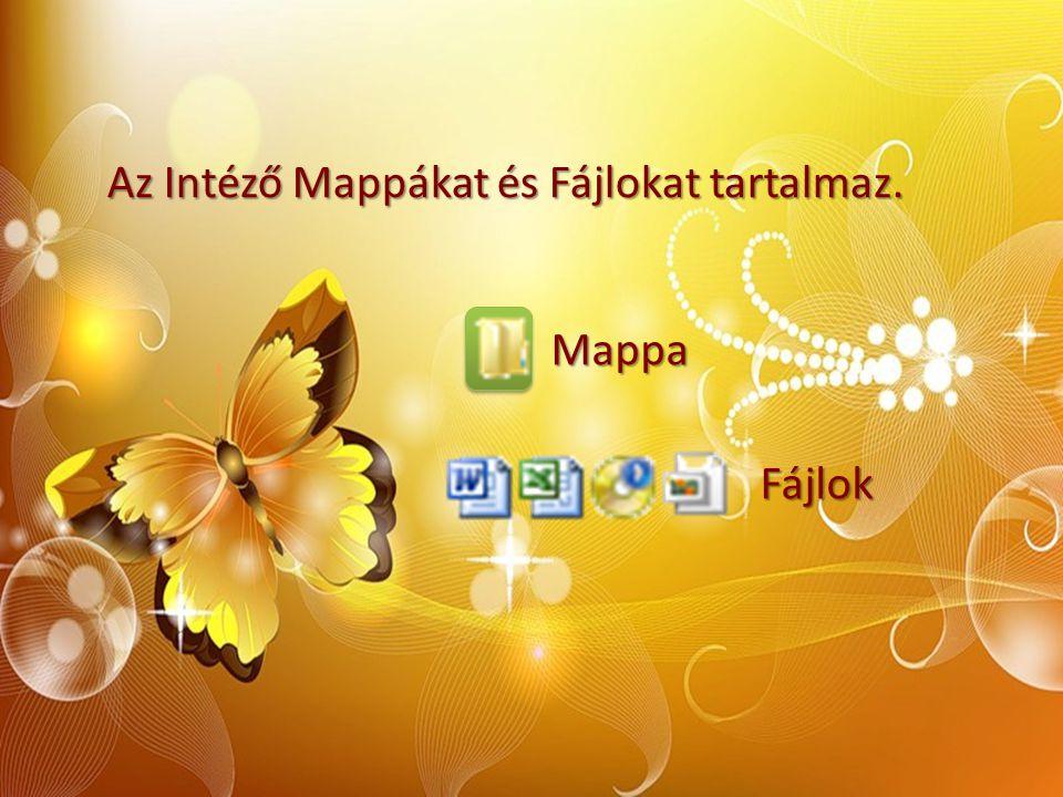 Az Intéző Mappákat és Fájlokat tartalmaz. Mappa Fájlok