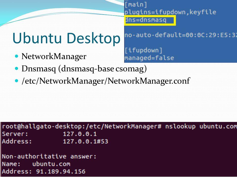 Ubuntu Desktop NetworkManager Dnsmasq (dnsmasq-base csomag) /etc/NetworkManager/NetworkManager.conf Johanyák Zs. Csaba (c) 2014