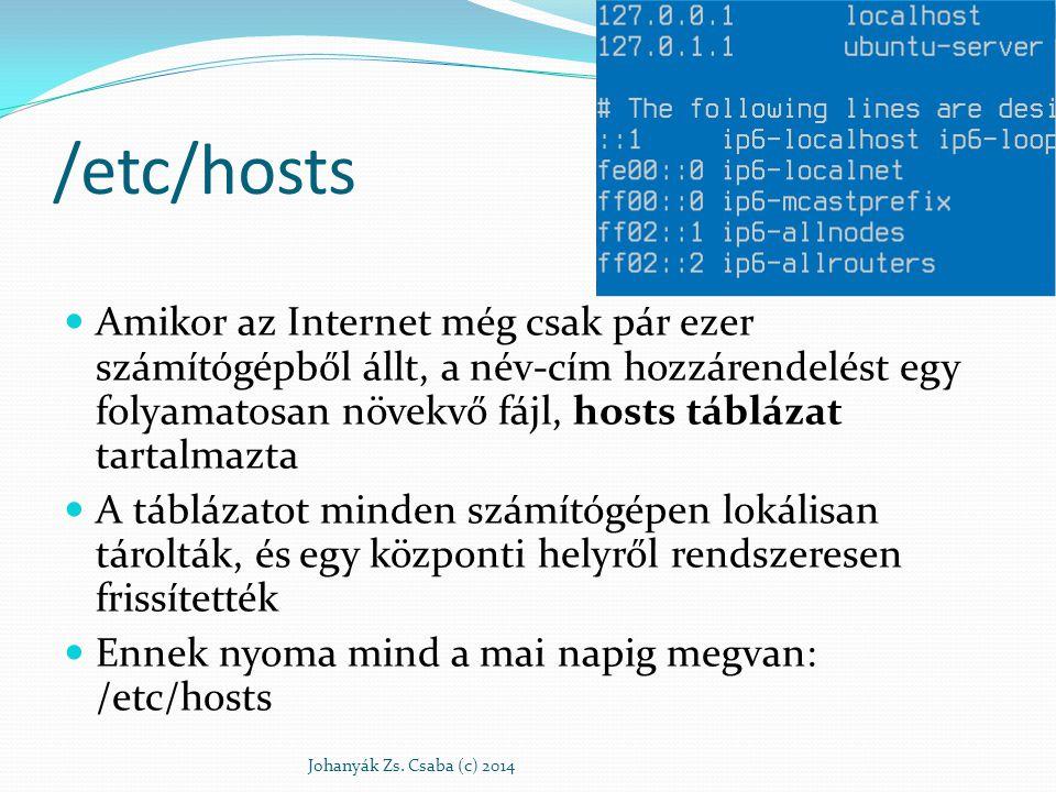 /etc/hosts Amikor az Internet még csak pár ezer számítógépből állt, a név-cím hozzárendelést egy folyamatosan növekvő fájl, hosts táblázat tartalmazta