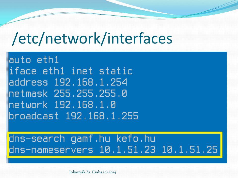 Domain Name Service (DNS) Osztott hierarchikus név adatbázis Legfontosabb feladata a név - IP cím feloldás Szerver alapú névfeloldás – szerver típusa Rekurzív névfeloldást végző szerver Egyszerű továbbító egy rekurzív névfeloldást végző szerverhez Vegyes Gyorstárazás Johanyák Zs.