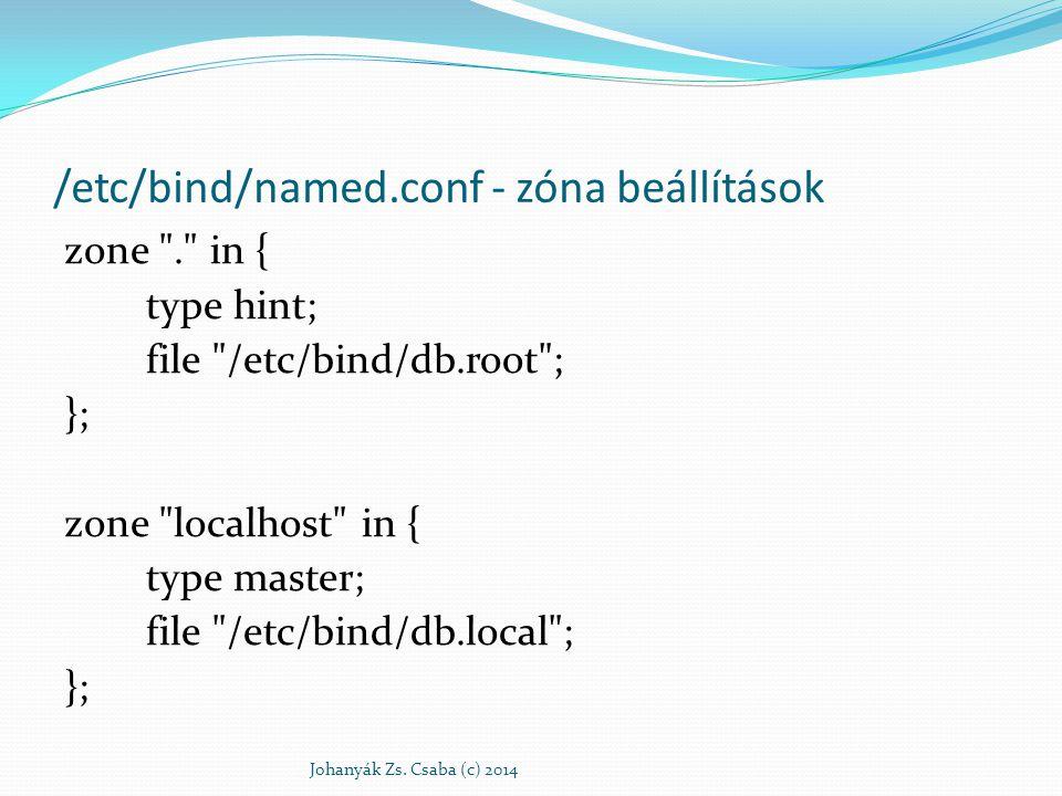 /etc/named.conf - zóna beállítások zone 127.in-addr.arpa { type master; file /etc/bind/db.127 ; }; Johanyák Zs.