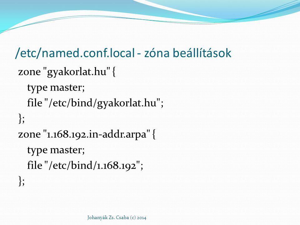 Zónatípusok Névfeloldáshoz kiegészítő: . ha a nevet pont végződés nélkül adjuk meg akkor ez a zóna mindig hozzá adódik – a gyökérszintű névszerverekről tartalmaz infót a DNS inicializálásához névtartomány localhost valódi zóna Címfeloldáshoz (inverz névfeloldáshoz) Johanyák Zs.
