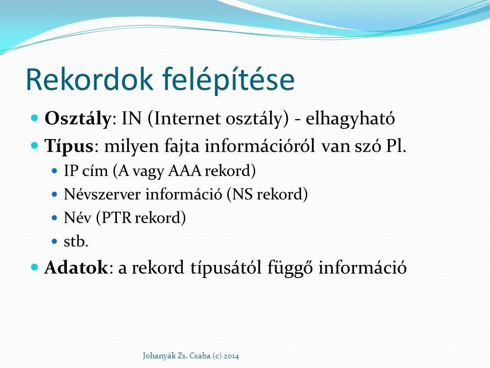 Rekordok felépítése Osztály: IN (Internet osztály) - elhagyható Típus: milyen fajta információról van szó Pl. IP cím (A vagy AAA rekord) Névszerver in