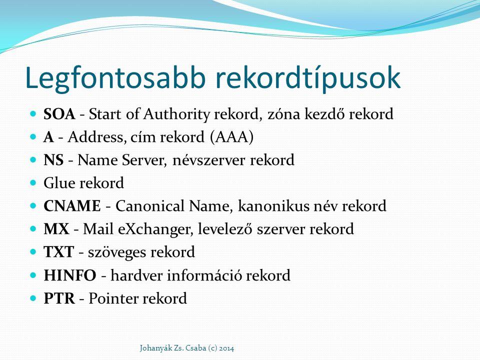 Legfontosabb rekordtípusok SOA - Start of Authority rekord, zóna kezdő rekord A - Address, cím rekord (AAA) NS - Name Server, névszerver rekord Glue r