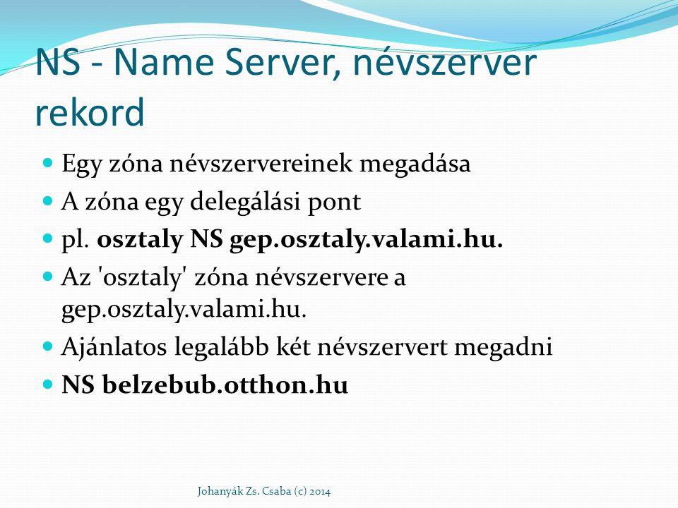 NS - Name Server, névszerver rekord Egy zóna névszervereinek megadása A zóna egy delegálási pont pl. osztaly NS gep.osztaly.valami.hu. Az 'osztaly' zó