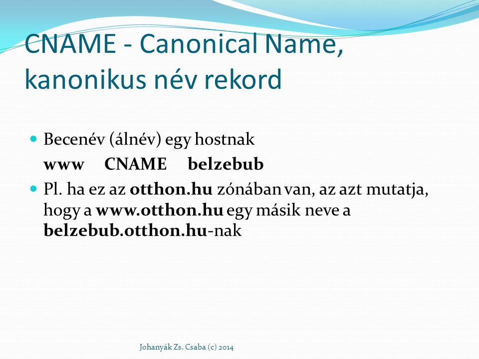 CNAME - Canonical Name, kanonikus név rekord Becenév (álnév) egy hostnak www CNAME belzebub Pl. ha ez az otthon.hu zónában van, az azt mutatja, hogy a