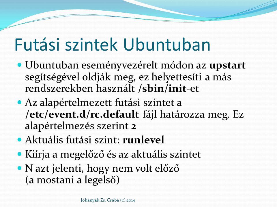 Futási szintek Ubuntuban Ubuntuban eseményvezérelt módon az upstart segítségével oldják meg, ez helyettesíti a más rendszerekben használt /sbin/init-e