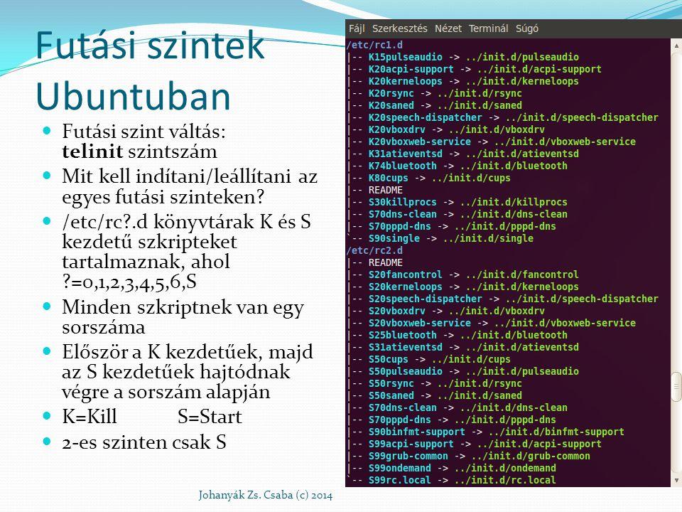 Futási szintek Ubuntuban Futási szint váltás: telinit szintszám Mit kell indítani/leállítani az egyes futási szinteken? /etc/rc?.d könyvtárak K és S k
