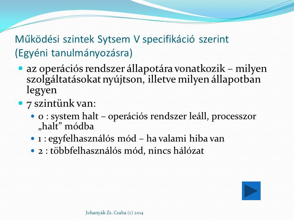 """Működési szintek Sytsem V specifikáció szerint 3 : többfelhasználós, hálózat van, nincs grafikus felület 4 : nem használt 5 : többfelhasználós, van hálózat és grafikus felület 6 : a rendszer újraindítása (reboot) az egyes processzek elindítását az """"init végzi az init az operációs rendszer beállításait az /etc/inittab állományból veszi Johanyák Zs."""