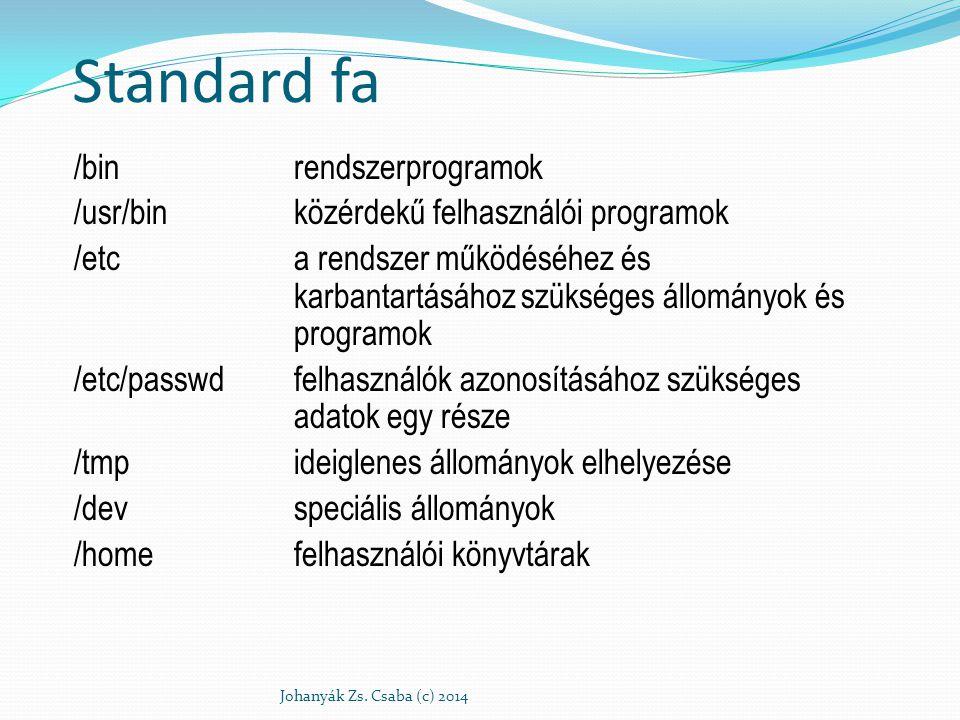 """/dev/tty*a terminálok nevei, a """"* helyén bármely karakter állhat a gép kiépítettségétől függően /dev/sd*merevlemez neve, a """"* helyén alfanumerikus karakterek, elsősorban számok állnak (sd*) /dev/fd*hajlékonylemezes egység neve /dev/memállományként elérhető memória neve /dev/nullkülönleges rendeltetésű állomány, ha olvasunk belőle, akkor azonnal az állomány végét érzékeljük, ha pedig írunk bele, akkor korlátlanul elnyel mindent anélkül, hogy bárhol is tárolná"""