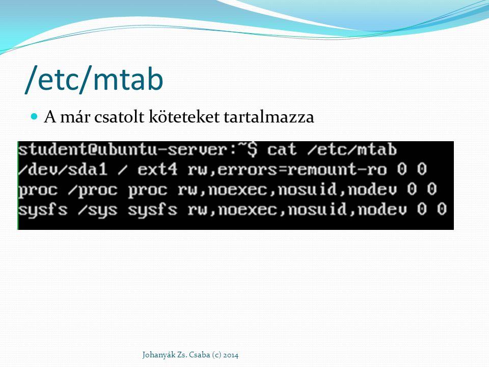 /etc/mtab A már csatolt köteteket tartalmazza Johanyák Zs. Csaba (c) 2014