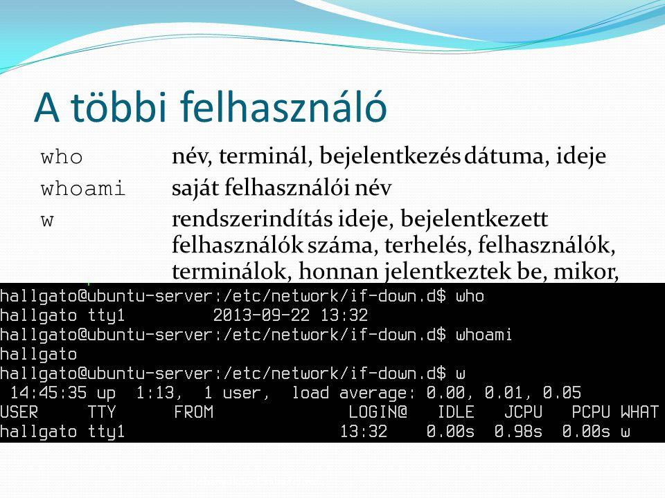 A többi felhasználó who név, terminál, bejelentkezés dátuma, ideje whoami saját felhasználói név w rendszerindítás ideje, bejelentkezett felhasználók