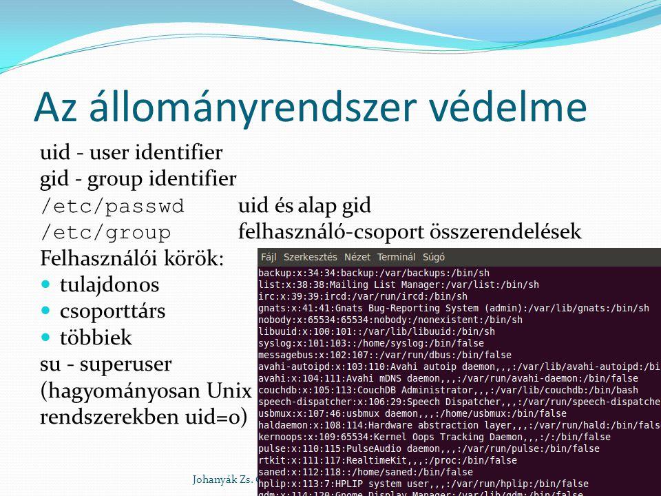 Az állományrendszer védelme uid - user identifier gid - group identifier /etc/passwd uid és alap gid /etc/group felhasználó-csoport összerendelések Fe